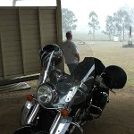 Burp and our Kawasaki Vulcan Nomad in the Lockyer Valley