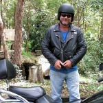 Burp and our Kawasaki Vulcan Nomad at Wivenhoe Outlook, D'Aguilar National Park